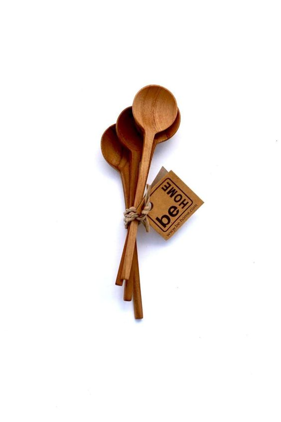 """Set of 4 Each is unique with natural color variations in color and wood grain Hand wash with mild soap and water solution.    Dimensions:3.5"""" L   Mini Spoons Set by be HOME. Home & Gifts - Home Decor - Dining Connecticut"""