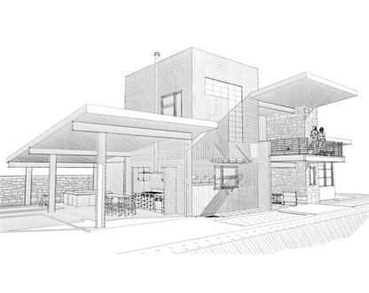 Modern house sketches bigarchitects pinned by Drawing modern houses