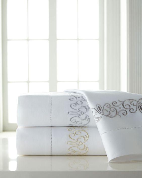 King Ardyn 400TC Embroidered Sheet Set, Ivory - SFERRA