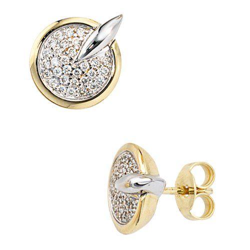 Damen-Ohrschmuck Ohrstecker gelb weiß kombiniert 14 Karat (585) Bicolor 60 Diamant 0.30 ct. Dreambase http://www.amazon.de/dp/B0097RE6CK/?m=A37R2BYHN7XPNV