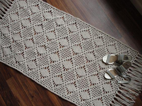 Rectangular crochet rug. $149.00, via Etsy.