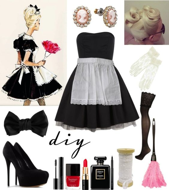 """DIY sexy French Maid Costume for Halloween"" by natihasi on Polyvore:"