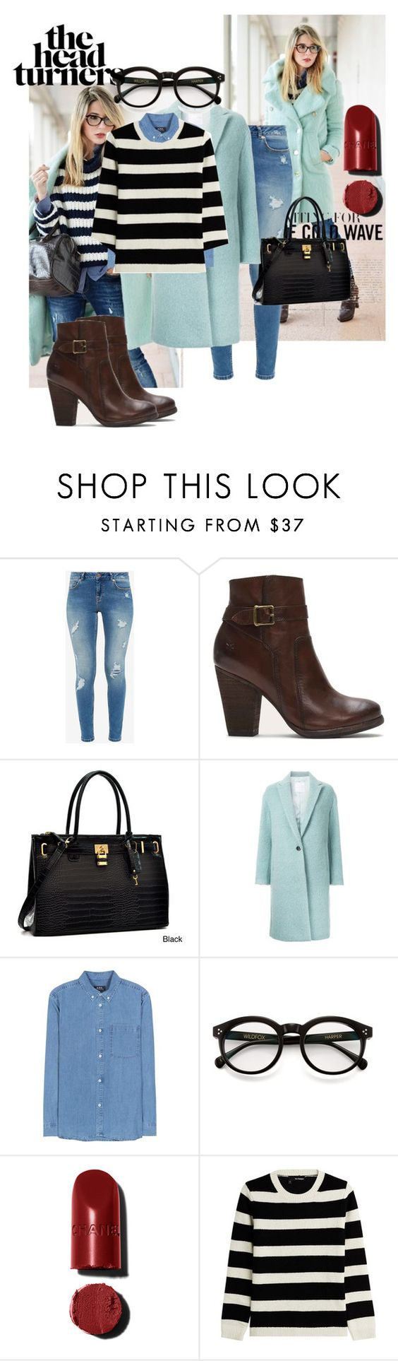 """""""Untitled #290"""" by love-dlv ❤ liked on Polyvore featuring Ted Baker, Frye, Dasein, CITYSHOP, A.P.C., Wildfox and The Kooples"""