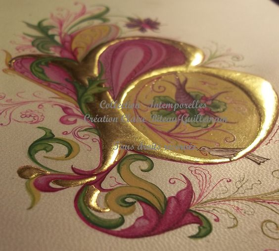 Illuminated initial with raised gold on gesso by Claire Biteau-Guillemain of Enlumine.org