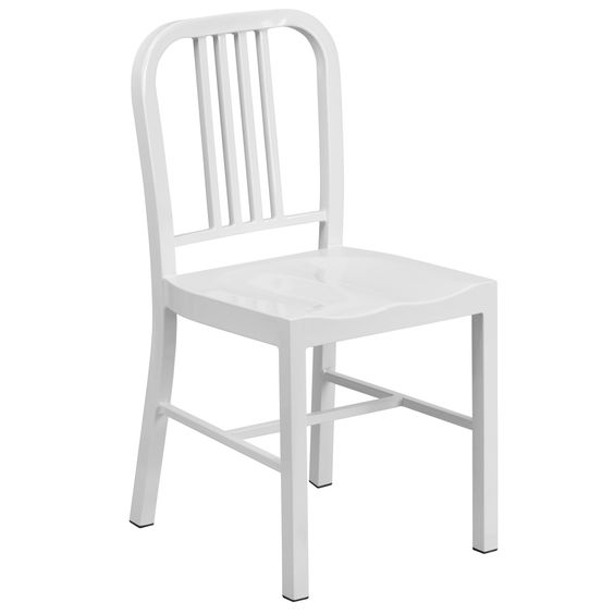 Flash Furniture White Metal Indoor-Outdoor Chair [CH-31200-18-WH-GG]