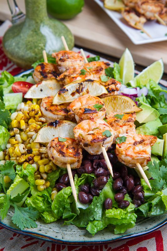 Chipotle Lime Grilled Shrimp Salad with Cilantro Lime Dressing - from Closet Cooking