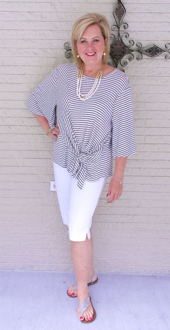 50 IS NOT OLD | STYLING A TIE FRONT BLOUSE | FASHION OVER 40 | White | Shorts | Fashion over 40 for the everyday woman