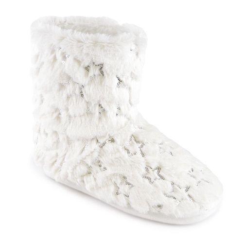 White Fluffy Faux Fur Slipper Boots