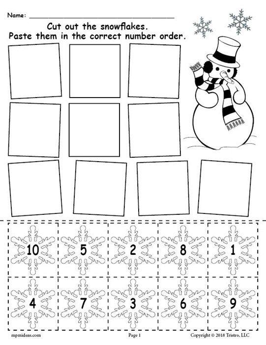 Printable Snowflake Number Ordering Worksheet Numbers 1 10 With