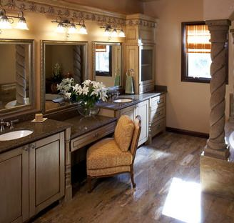 A great place to get ready every morning--featuring Cambria countertops.