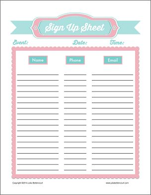 Printable Baby Shower Potluck Sign Up Sheet sign - up on pinterest ...