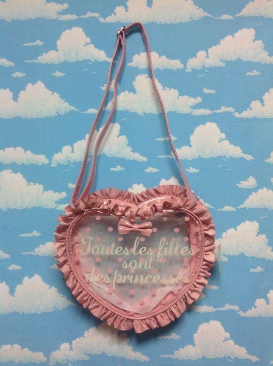 Frill Heart Shoulder Bag in Pink from SWIMMER - Lolita Desu