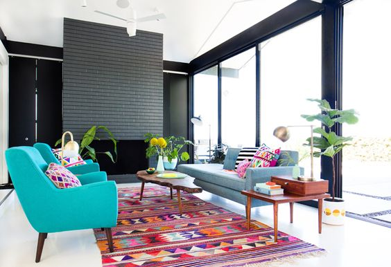 In love with the color scheme / mid century elements of this space - Em Henderson is a design genius!: