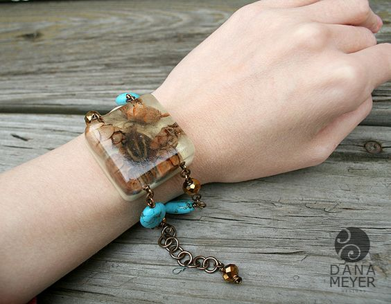 Turquoise and feather bracelet cast from resin