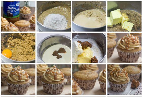 CUPCAKES de Doce de Leite     Para os bolinhos:     1 3/4 xícara de farinha de trigo-     1 colher de chá de fermento em pó-     1/4 colher de chá de bicarbonato de sódio-     1/4 colher de chá de sal-     de manteiga sem sal 1/2 xícara-     1 xícara de açúcar mascavo-     2 ovos-     3 colher de sopa de Doce de Leite-     1 xícara de creme de leite-     extrato de baunilha 2 colher de chá-