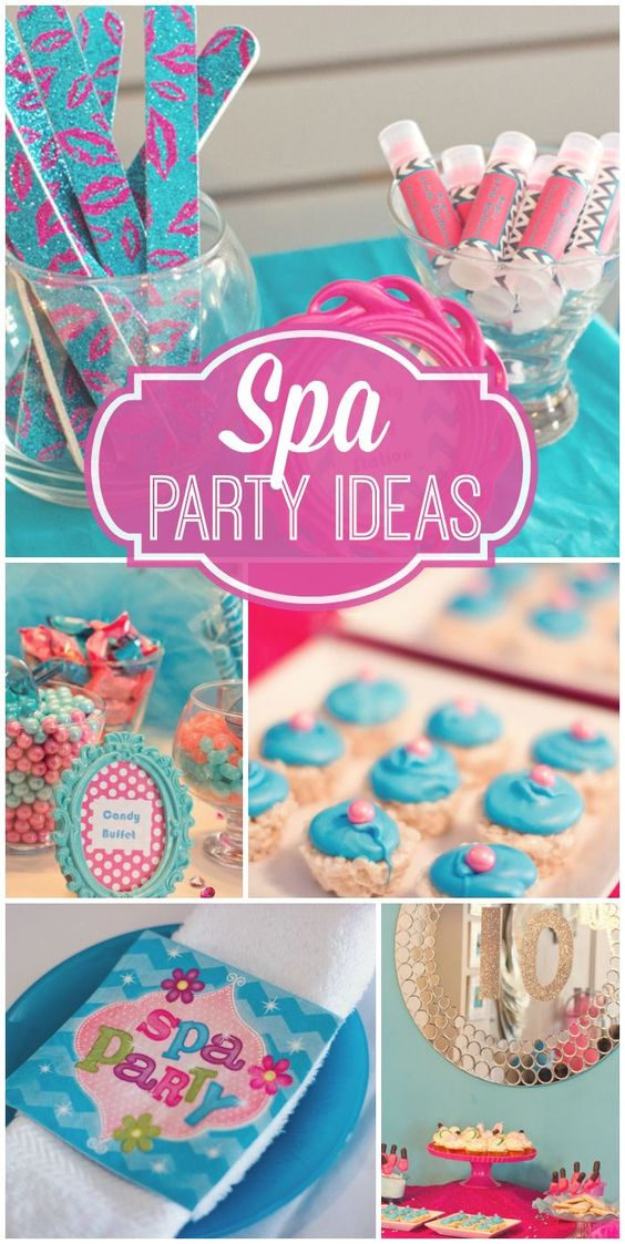 The girls all get together for a pretty blue and pink spa party!  See more party ideas at CatchMyParty.com!