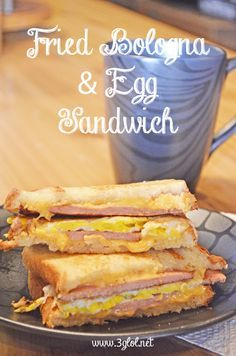 Fried Bologna and Egg Sandwich.  A fried bologna sandwich meets an egg sandwich and falls in love.  #friedbologna #bolognasandwich #eggsandwich www.3glol.net