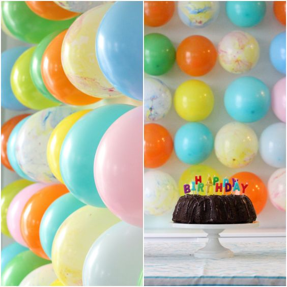 Balloon wall balloons and birthday parties on pinterest for Balloon decoration on wall for birthday