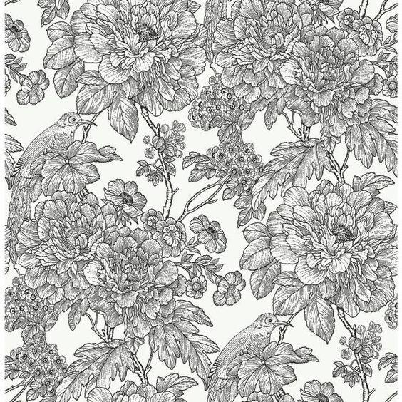 Nuwallpaper Black White Sudbury Black White Vinyl Strippable Roll Covers 30 75 Sq Ft Nus3544 The Home Depot Black Floral Wallpaper Blue Floral Wallpaper Peel And Stick Wallpaper