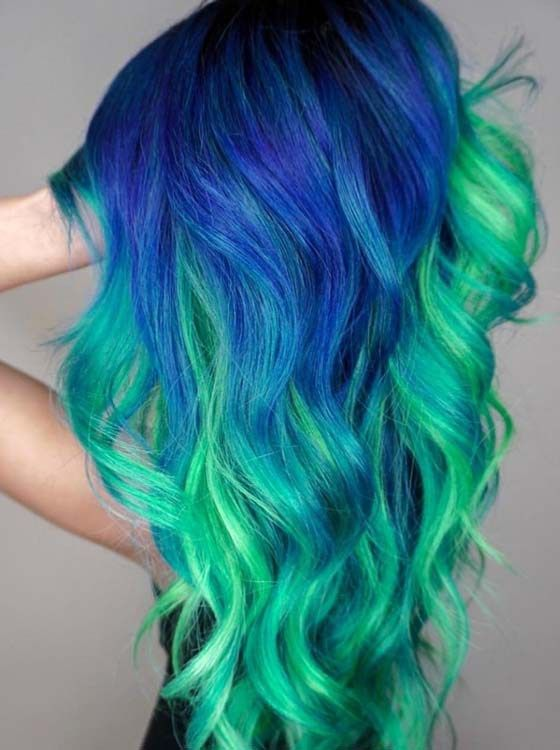 Beautiful Natural Blue And Green Hair Colors For Girls Green