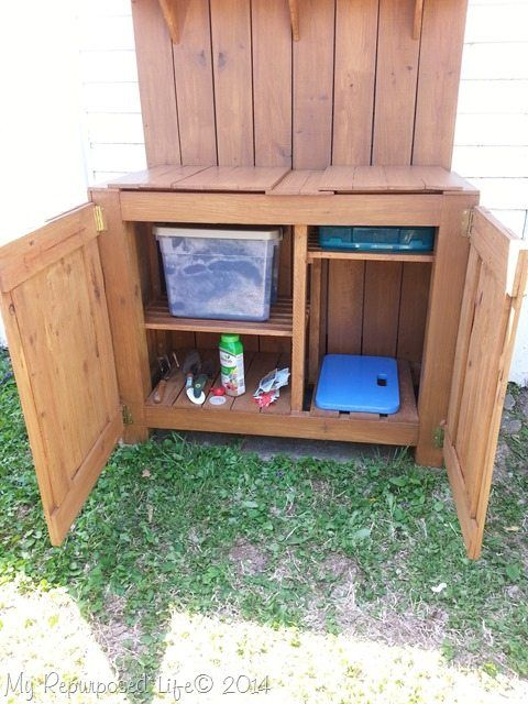 DIY potting table bench   Rustic storage bench, Potting ...
