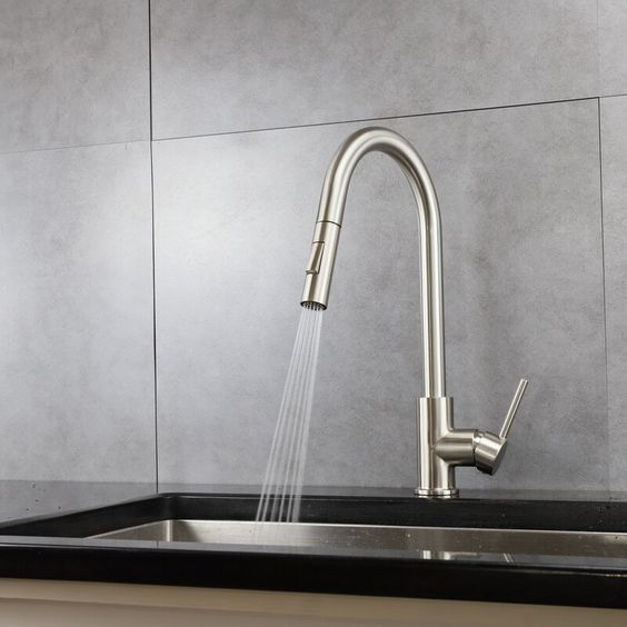 Olivi Brass Kitchen Faucet W Pull Out Sprayer Brushed Nickel In