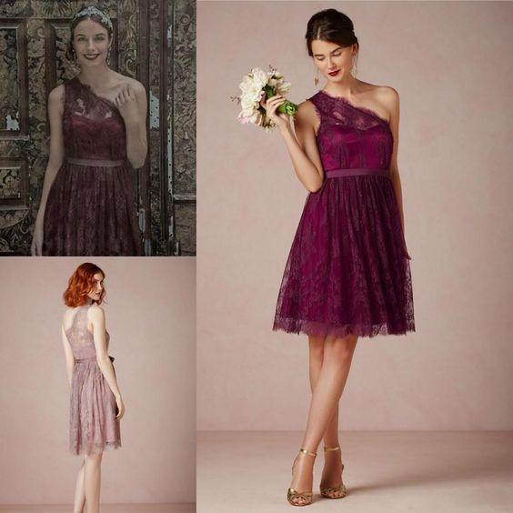 2015 Lace Burgundy Short Bridesmaid Wedding Party Dresses 2015 ...