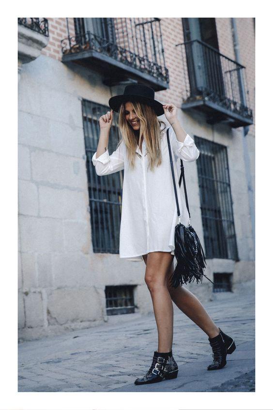 Lo que debes saber antes de comprar y usar vestidos #TiZKKAmoda #vestido #camisero #blanco #dress #white #botines #negro #sombrero #look #casual