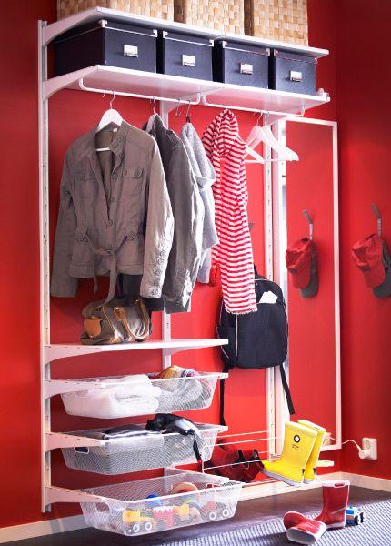 ikea algot storage system in a hallway algot pinterest. Black Bedroom Furniture Sets. Home Design Ideas