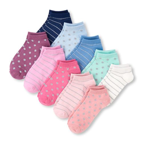 Girls Glitter Dot And Stripes Ankle Socks 10 Pack Socks Crew Socks Kids Fashion