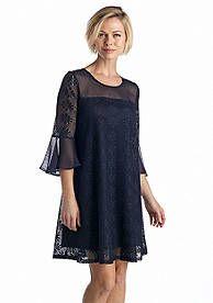 Gabby Skye Allover Lace Trapeze Dress