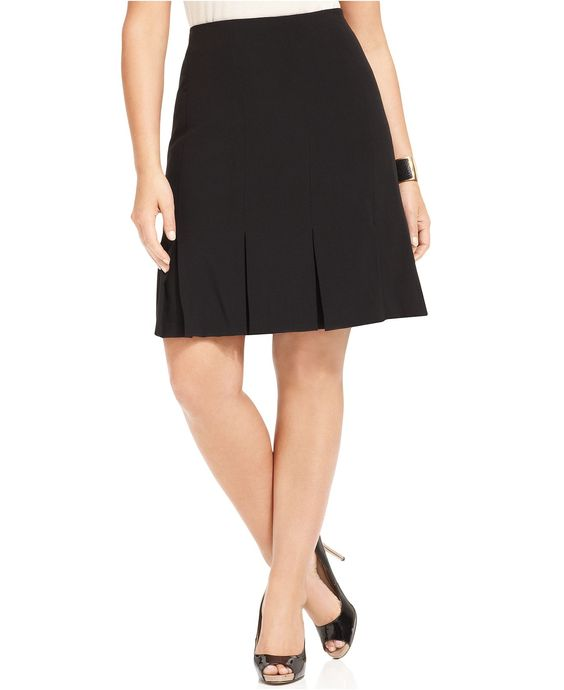 agb plus size skirt black stretch suiting pleated a line