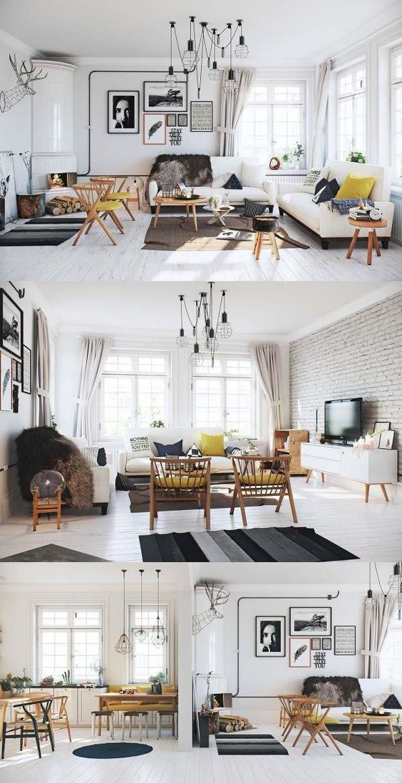 contemporary living room scandinavian style interior white floor brick wall…