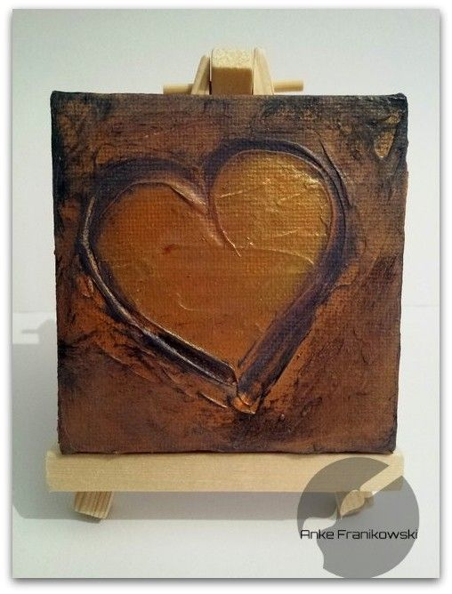 Acrylbild Nr 34 Goldenes Herz Acrylmalerei Mini Leinwand Und