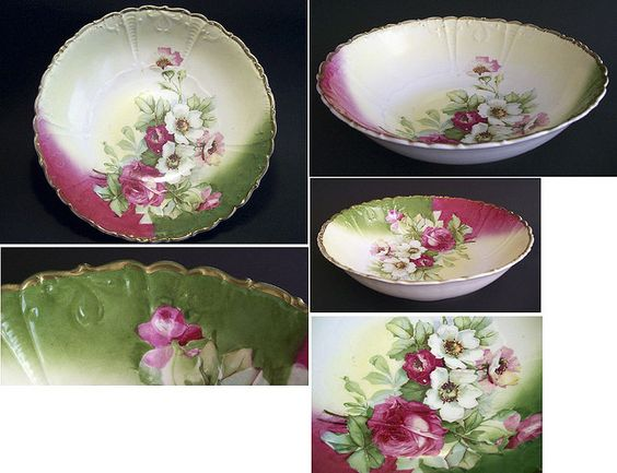 ANTIQUE SHABBY CHIC COUNTRY ROSE BOWL