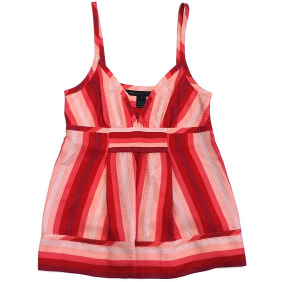 Pre-owned Marc by Marc Jacobs Pink & Red Striped Silk Tank ($69) ❤ liked on Polyvore featuring tops, pink tank, pink silk tank top, red tank top, pink tank top and red silk tank
