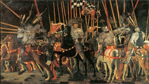 PAOLO UCCELLO (1397-1475) Si sa che Paolo Uccello rievocò in tre pannelli (divisi fra il Louvre , la National Gallery di Londra e gli Uffizi a Firenze), i tre momenti culminanti della battaglia che in giugno 1432, a san Romano, oppose i fiorentini guidati da Nicolò Mauruzi da Tolentino ai senesi con capo Bernardino della Ciarda. In questa tavola al Louvre, Paolo Uccello raffigura uno dei momenti culminanti della battaglia, cioè l'intervento di Micheletto da Cotignola a fianco dei fiorentini. #art #oil #canvas #history #Uccello