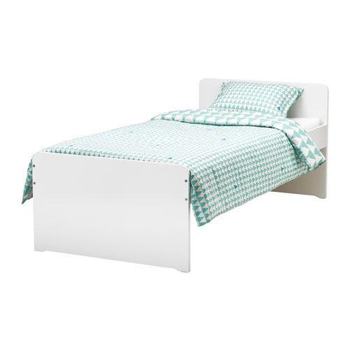 Slakt Bed Frame With Slatted Bed Base White 90x200 Cm Bed