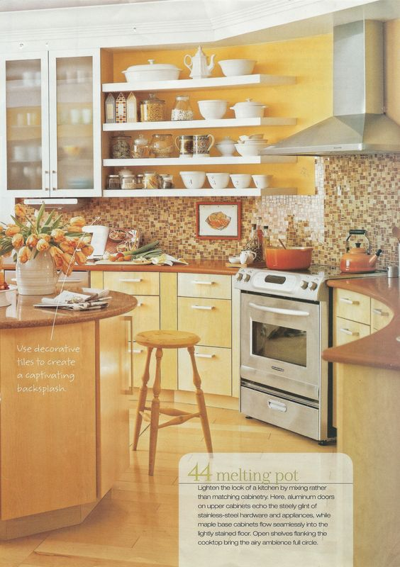 Bright Yellow Kitchen Brown Tile Backsplash Maybe Yellow Walls Would Go Well With My Ugly