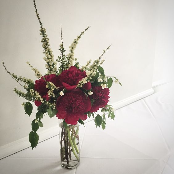 Beautiful red charm peony arrangement for a Brooklyn bride.