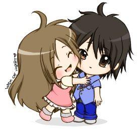 Chibis hugging - photo#14