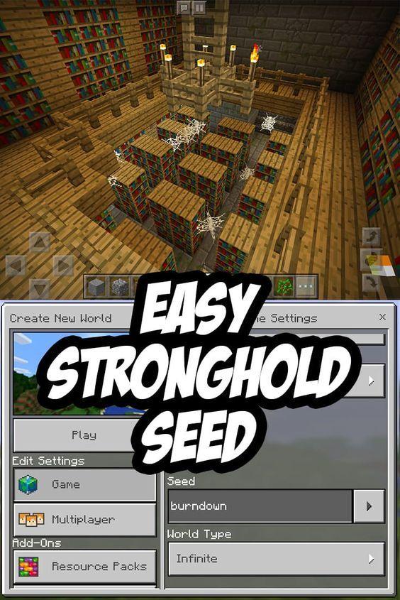 Easy Minecraft Pe Stronghold Seed Burndown Minecraft Pe Minecraft Minecraft Seed