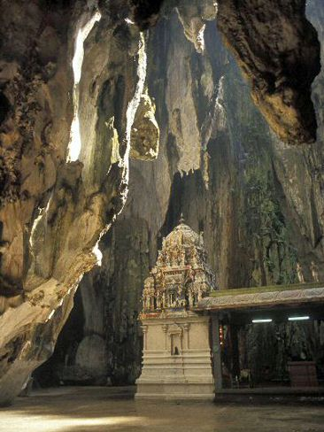 The Batu Caves in Malaysia are one of the most famous grottos in the world, known for their Hindu temples and the 100m high open vault called the Cathedral Cave. The caves are made up of 400 million year old limestone.