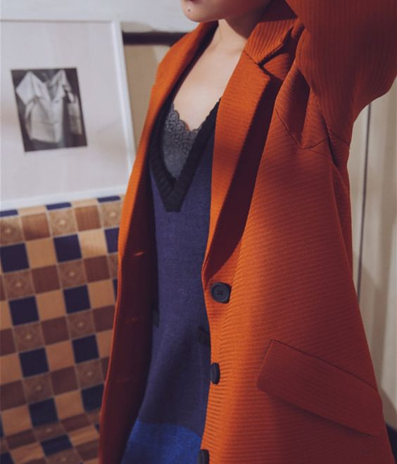 La Chic ParisienneCollection.  This color fabric is a surprise to find, very chic orange with thickness and quality, the touch feeling is like suit. The color is warm and bright, great for autumn and winter season.  Fabric: polyester, like suit fabric (please use dry wash) Therere 3 Sizes to choose, the measurement is in cm:  shoulder/Chest/sleeve/back mid Length S 36/106/56/97 M 38/110/58/99 L 40/114/60/100  The items in the shop ta...