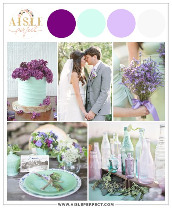 Mint, Lavender, Bright Plum, and Muted Grey Palette