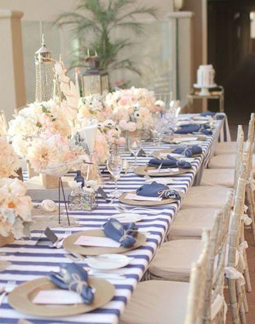 Como decorar una primera comunion marinera en azul blanco - Como decorar mesas para fiestas ...