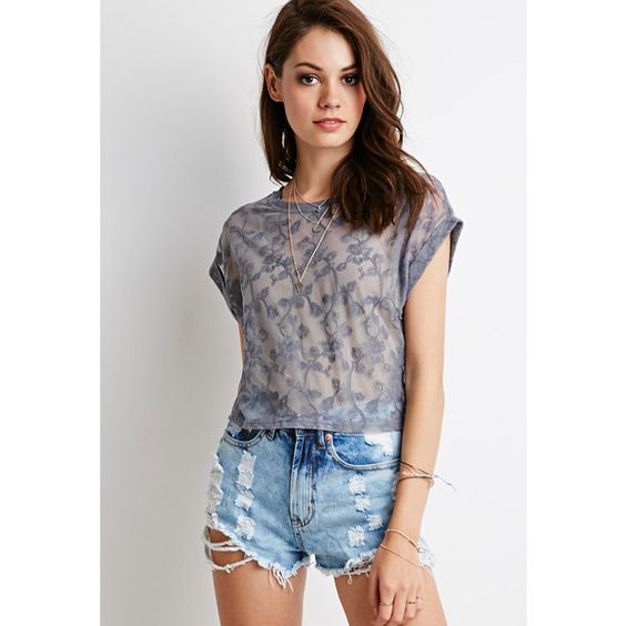 Forever 21 Sheer Rose Lace Top (15 AUD) ❤ liked on Polyvore