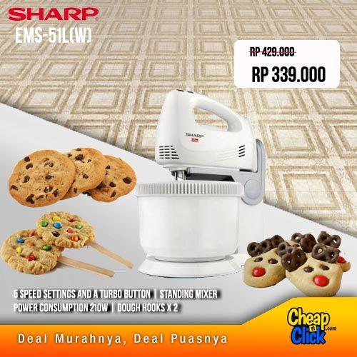 Liburan pengen bikin kue buat keluarga? Pakai Standing Mixer Sharp EMS-51L, lebih mudah dan praktis dengan 5 speed setting & Turbo Button!! Dapatkan di www.cheapnclick.com