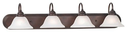 """Contemporary Terra Cotta and Marbleized Glass 36"""" Wide Bath Bar traditional bathroom lighting and vanity lighting"""