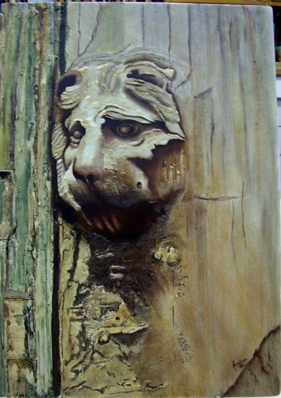 puerta, técnica tipo acuarela, pintada a mano sobre placa de porcelana
